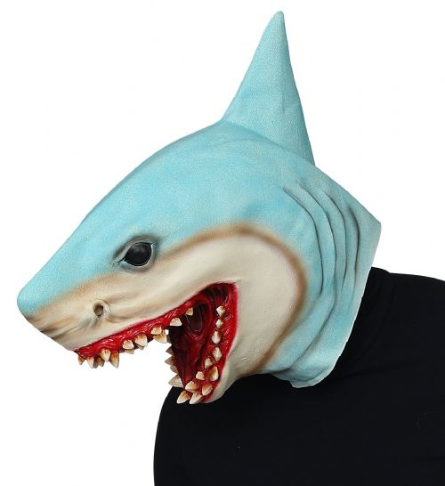KILLER SHARK FULL HEAD MASK Latex Mask Animals Fish Fancy Dress